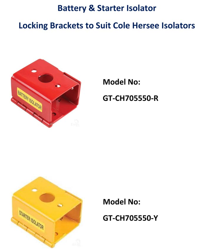 Battery & Starter ISOLATOR  LOCKING BRACKETS to Suit Cole Hersee Isolators    Model No:  GT-CH705550-R    Model No:  GT-CH705550-Y