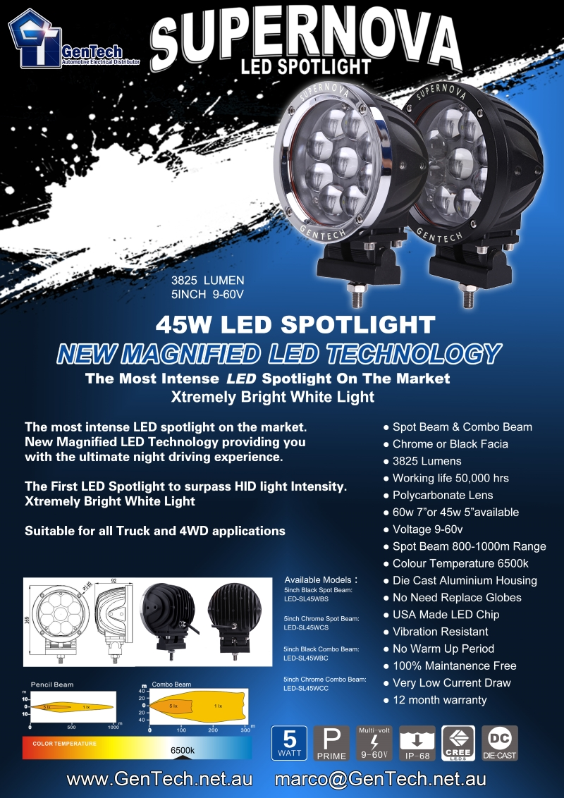 The most intense LED Spotlight on the market. The first LED Spotlight to surpass HID Light Intensity. Spot Beam and Combo Beam, available in chrome or black. 5100 lumens, 50,000 hours lifespan. 60w 7