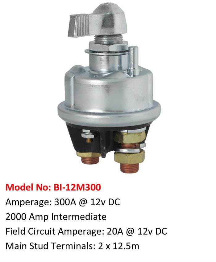 Model No: BI-12M300 Amperage: 300A @ 12v DC 2000 Amp Intermediate Field Circuit Amperage: 20A @ 12v DC Main Stud Terminals: 2 x 12.5m