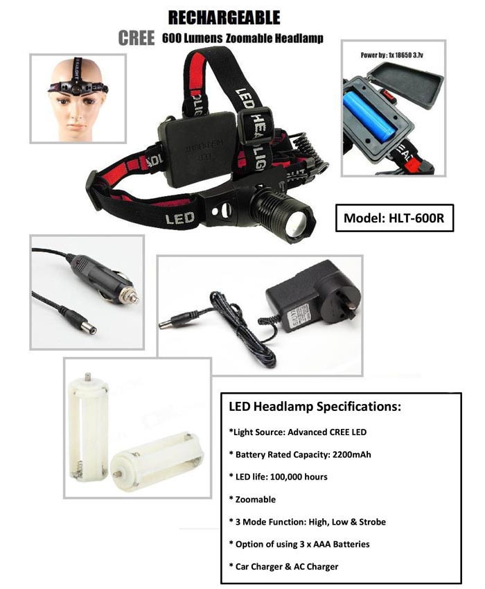 LED HEADLAMP SPECIFICATIONS : Light source: Advanced CREE LED     Battery Rated Capacityt: 2200mah       LED Life:  100,000 hours     zoomable       3 mode function: High, Low, & Strobe         Option of using 3 x AAA Batteries         Car Charger & AC Charger