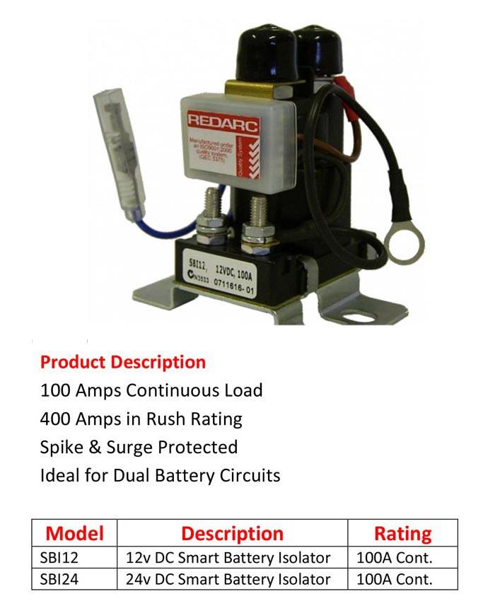 Smart Battery Isolator Redarc 100a  12v Sbi12 24v Sbi24