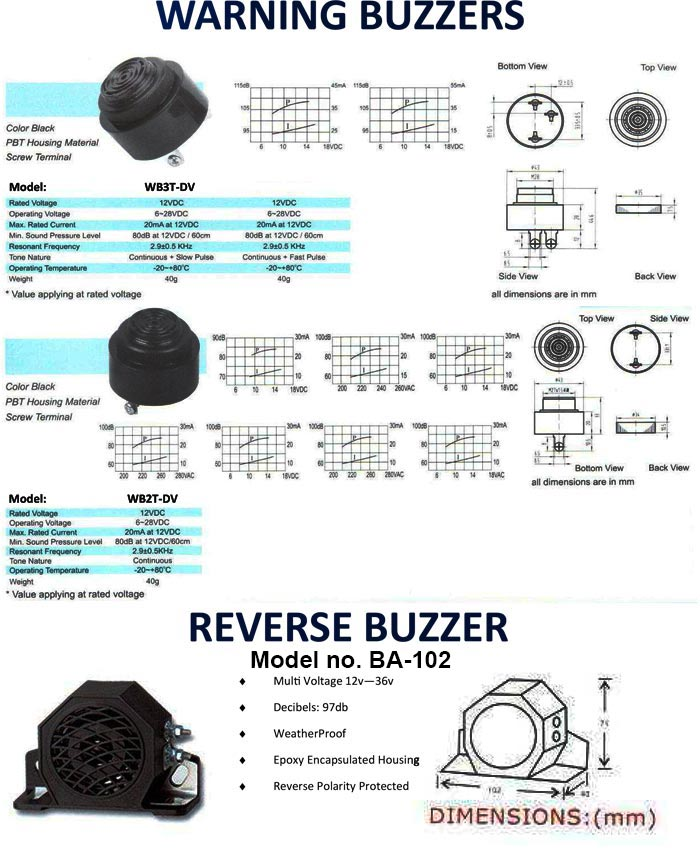 warning and reverse buzzers