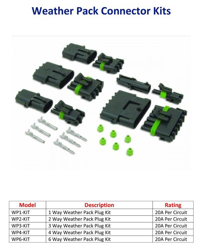 Model	Description	Rating WP1-KIT	1 Way Weather Pack Plug Kit	20A Per Circuit WP2-KIT	2 Way Weather Pack Plug Kit	20A Per Circuit WP3-KIT	3 Way Weather Pack Plug Kit	20A Per Circuit WP4-KIT	4 Way Weather Pack Plug Kit	20A Per Circuit WP6-KIT	6 Way Weather Pack Plug Kit	20A Per Circuit